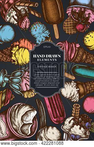 Card Design On Dark Background With Ice Cream Bowls, Ice Cream Bucket, Popsicle Ice Cream, Ice Cream