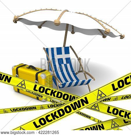 Tourist Lockdown In Greece. Empty Sunbed With The Flag Of The Hellenic Republic, An Umbrella And A R
