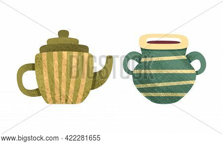 Clay Kitchenware Set, Ceramic Pottery With Decorative Ornament, Teapot And Pot Crockery Cartoon Vect