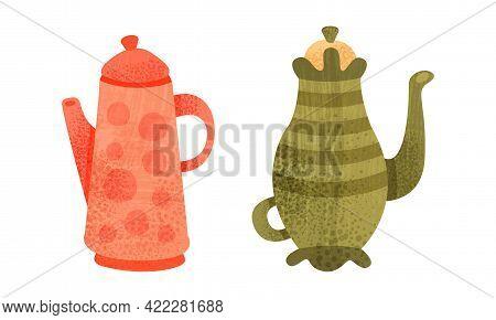 Clay Kitchenware Set, Ceramic Pottery With Decorative Ornament, Coffee Pot Crockery Cartoon Vector I