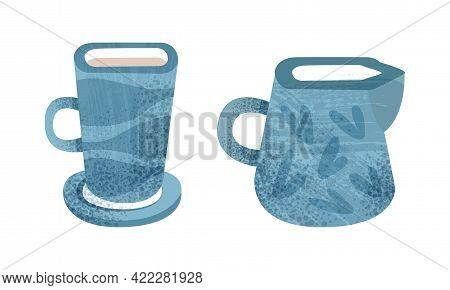 Clay Kitchenware Set, Ceramic Pottery With Decorative Ornament, Creamer And Mug Crockery Cartoon Vec
