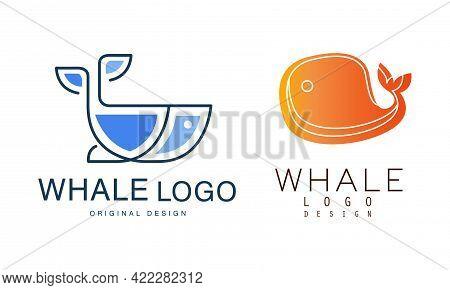 Whale Logo Design Set, Sealife, Summer Adventure, Seafood Labels, Badges Flat Vector Illustration