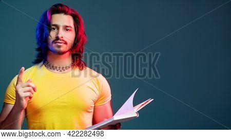 Smart Hipster Man. Eureka Gesture. Neon Light Portrait. Find Decision. Pensive Bearded Hipster Guy H