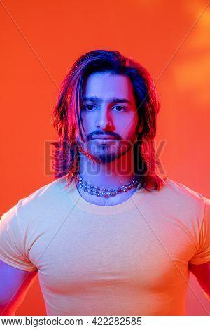 Macho Man. Neon Light Portrait. Cyberpunk People. Masculine Power. Confident Sportive Guy Yellow T-s