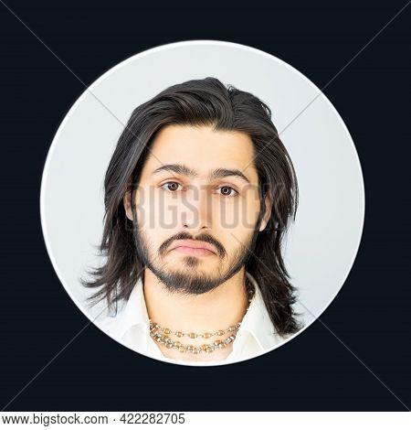 Man. Skeptic Look. Puzzled Face Portrait. Hesitating People. Doubtful Brunette Bearded Guy Long Hair