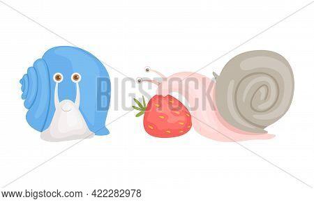 Cute Garden Snails Set, Adorable Funny Baby Snail Eating Strawberry Cartoon Vector Illustration