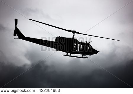 Zeltweg / Austria - September 6, 2019: Austrian Air Force Agusta Bell Ab-212 5d-hr Flying At Zeltweg