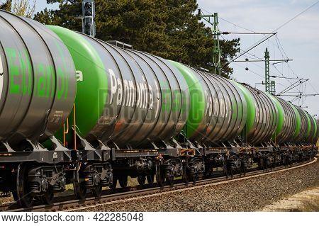 Siofok, Hungary - April 12, 2021: International Train Transportation. Cargo Freight Train Wagon At T