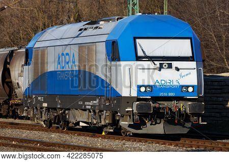 Balatonszentgyorgy, Hungary - March 7, 2021: International Train Transportation. Locomotive Train At