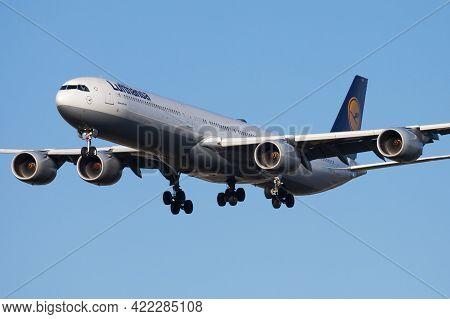 Munich, Germany - March 19, 2013: Lufthansa Passenger Plane At Airport. Schedule Flight Travel. Avia