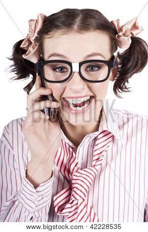 Female Business Person Selling On Smart Phone