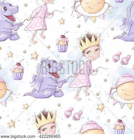 Seamless Pattern. Pajama Party For Girls. For Digital Printing