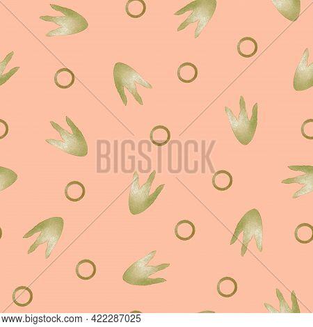Seamless Pattern. Cartoon Dinosaur Footprints. Digital Printing