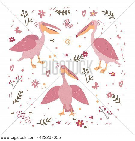 Vector Set Of Pink Pelicans And Flowers. Hand Drawn Illusatration.