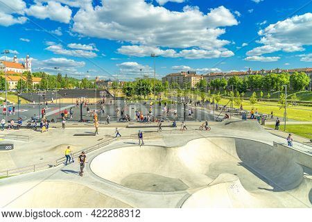 Vilnius, Lithuania - May 12, 2021: Outdoor Sport Activities, Leisure Entertainment In Modern White B