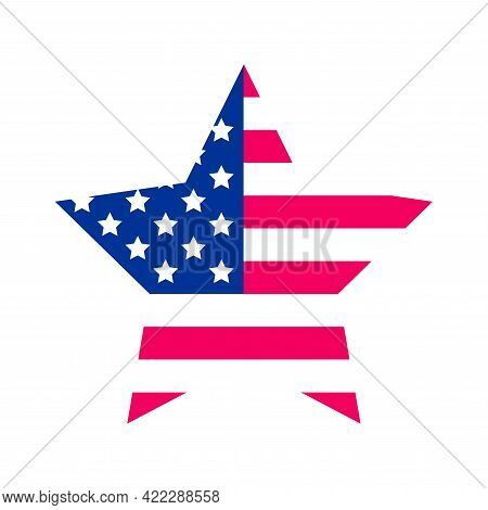 Usa Vector Star Shape Flag. United States Of America Flag Colors Textured Design Element