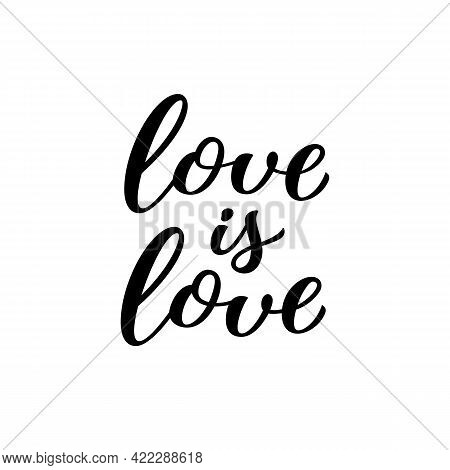 Love Is Love Hand Drawn Lettering Quote. Homosexuality Slogan Isolated On White. Lgbt Rights Concept