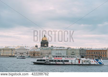 Saint-petersburg, Russia, 22 August 2020: Motor Ship Moscow Sails With Tourists On The Neva River. S