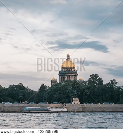 Saint-petersburg, Russia, 03 September 2020: Motor Ship Near The Embankment On The Neva River.