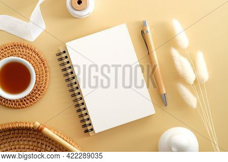 Craft Paper Notepad With Blank Paper Note, Pencil, Rattan Plate, Coffee Cup, Ribbon, Dried Flowers O
