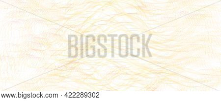 Golden, Yellow, Orange, Red Thin Squiggly Curves. Wavy Tangled Lines. Abstract Vector Background Wit