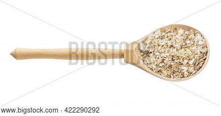 Wooden Spoon With Raw Four Cereal Flakes Isolated On White Background
