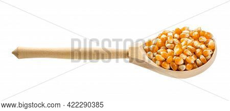Wooden Spoon With Raw Maize Corns Isolated On White Background