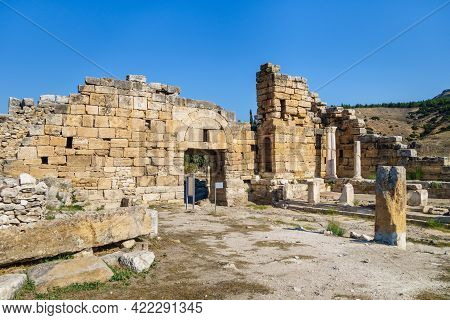 Ruins Of North Byzantine Gates & Monumental Fountain In Antique City Hierapolis, Pamukkale, Turkey.