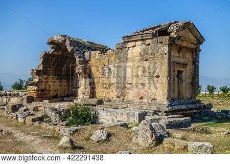 Antique Crypt In Necropolis Of Antique City Hierapolis, Pamukkale, Turkey. It Was Belonged To Noble