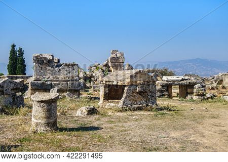 Panorama Of Remains Of Antique Crypts, Sarcophagus & Their Elements In Necropolis Of Hierapolis, Anc