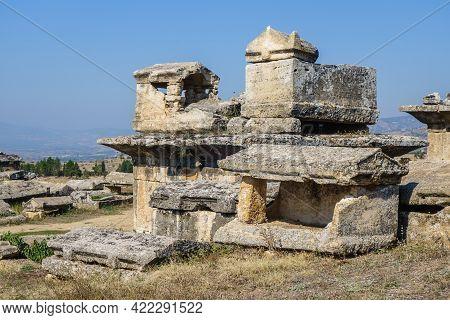 Antique Crypt & Few Sarcophagus In Necropolis Of Hierapolis, Antique City Near Pamukkale, Turkey. So