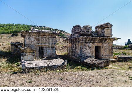 Antique Crypts In North Necropolis Of Antique City Hierapolis, Pamukkale, Turkey. Some Of Sarcophagu