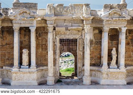 Close View On Scaenae Or Decoration Of Theater's Scene In Antique City Hierapolis, Pamukkale, Turkey