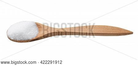 Crystalline Erythritol Sugar Substitute In Wooden Spoon Isolated On White Background
