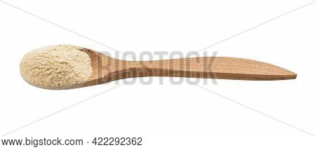 Apple Pectin Powder In Wooden Spoon Isolated On White Background