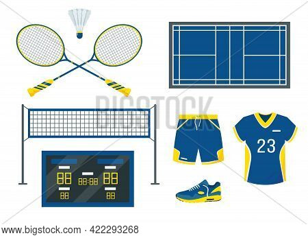 Badminton Set. Sport Equipment And Accessories. Shuttlecock, Net, Clothing, Scoreboard And Court For