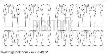 Set Of Dresses Henley Collar Technical Fashion Illustration With Long Elbow Short Raglan Sleeves, Ov