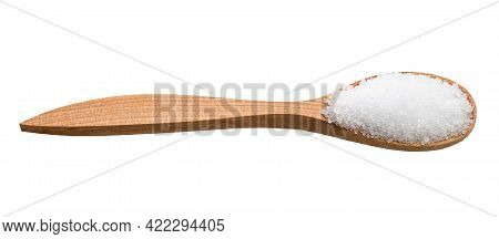 Crystalline Fructose In Wooden Spoon Isolated On White Background