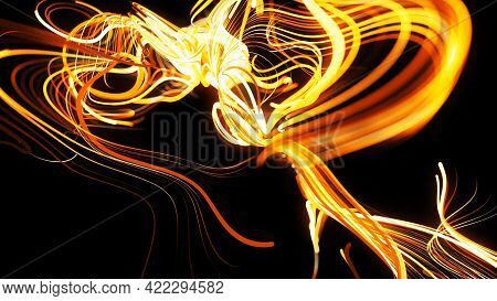 Particles Forms Curled Yellow Lines Like Glow Light Trails, Lines Form Swirling Pattern Like Curle N
