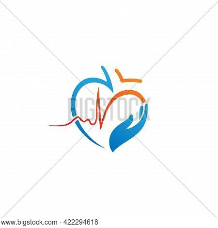 Heart With Beat Monitor Pulse Line Art Icon For Medical Apps And Websites. Breathing And Alive Sign