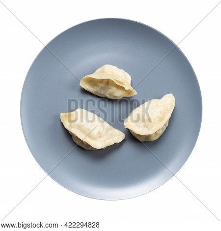 Top View Of Few Boiled Dumplings On Gray Plate Isolated On White Background