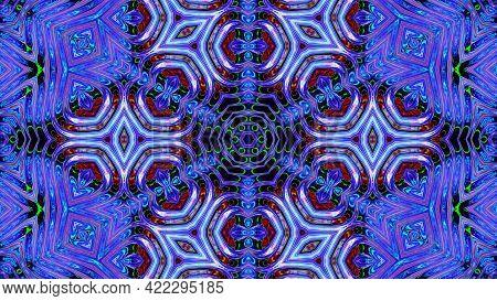 3d Render. 3d Stylish Looped Abstract Bg. Liquid Iridescent Symmetrical Pattern Like Kaleidoscope Wi