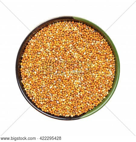 Top View Of Chumiza Siberian Millet Seeds In Round Bowl Isolated On White Background
