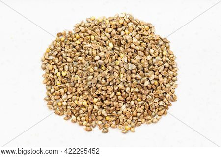 Top View Of Pile Of Whole-grain Barnyard Millet Seeds Close Up On Gray Ceramic Plate
