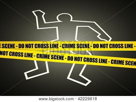 Vector illustration of a police line on crime scene poster