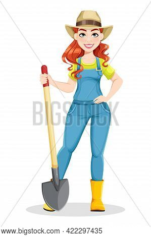 Beautiful Woman Farmer Holding Shovel. Cute Girl Farmer Cartoon Character. Stock Vector Illustration