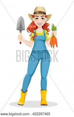 Beautiful Woman Farmer Holding Little Shovel And Carrots. Cute Girl Farmer Cartoon Character. Stock