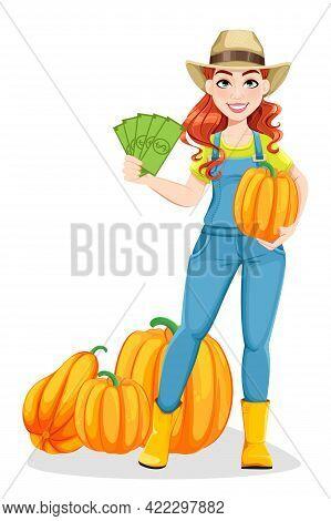 Beautiful Woman Farmer Standing Near Pumpkins And Holding Money. Cute Girl Farmer Cartoon Character.