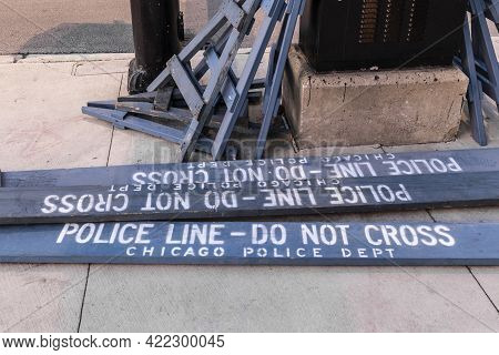 Chicago - Circa May 2021: Police Line Do Not Cross Sign Courtesy Of The Chicago Police Department.