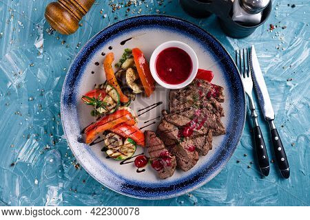 Delicious Juicy Beef Steak With Grill Vegetables.